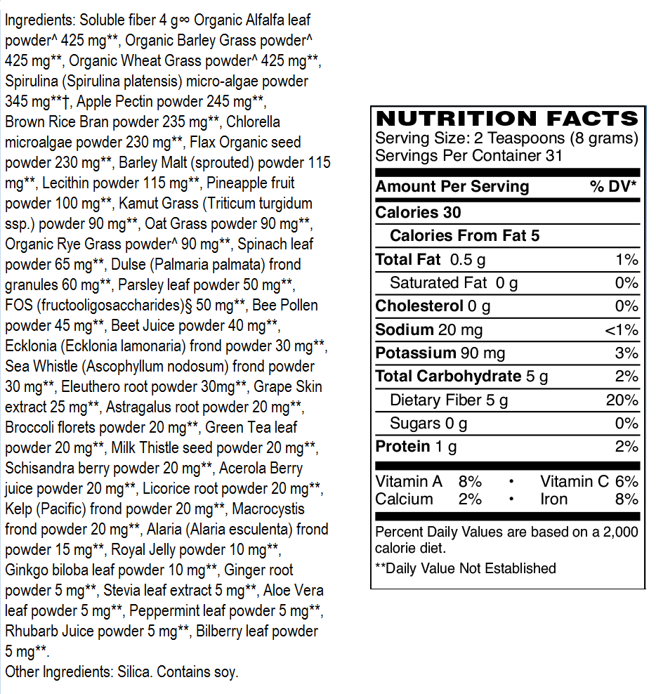 ingredients label Super Greens